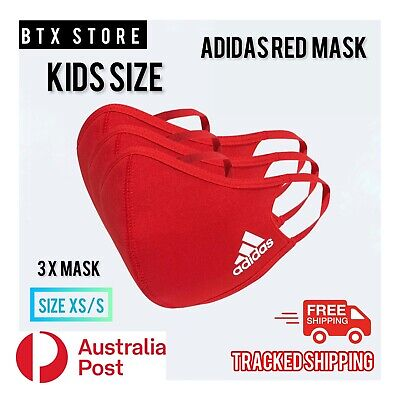 AU35.95 • Buy 3x Brand New KIDS SIZE Adidas Face Mask Cover, XS/S, Red, Unisex. (3 X Mask)
