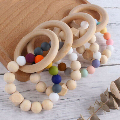 £2.49 • Buy Safe Wooden Ring Silicone Bead Baby Teething Sensory Bracelet Teether Toys 6.5cm