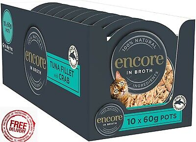 £13.39 • Buy Encore 100% Natural Wet Cat Food Pot, Succulent Tuna With Pacific Crab In Broth