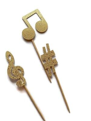 £3.50 • Buy 12 Gold Music Note Cake Toppers Birthday Decoration Cupcake Topper Tik Tok Teen