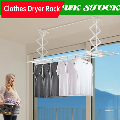 £31.89 • Buy Retractable Ceiling Clothes Dryer Rack Pulley Airer Drying Space 4 Poles Patio
