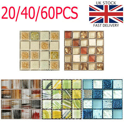 £4.99 • Buy 20-60X Mosaic Tile Stickers Stick On Bathroom Kitchen Wall Decal Self-adhesive