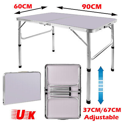 £26.61 • Buy 3FT/90cm Folding Camping Picnic Table Party Outdoor Garden Aluminum Adjustable
