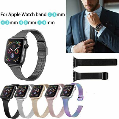 AU19.89 • Buy Milanese Stainless Steel With Button Watch Band For Apple Watch Series 6 5 4 3 2