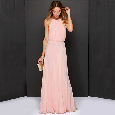£18.59 • Buy Long Chiffon Lace Formal Evening Ball Gown Prom Bridesmaid Maxi Dress 8-18