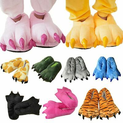 £6.66 • Buy Adults Kids Animal Monster Feet Slippers Claw Dinosaur Paw Plush Indoor Shoes