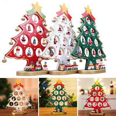 £10.95 • Buy 27cm Wooden Christmas Tree With 18 Ornaments&Train Kids Gift Desk Decoration UK