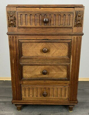 £119 • Buy Rare Carved French Antique Bedside Table Cupboard Cabinet Chest Of Drawers