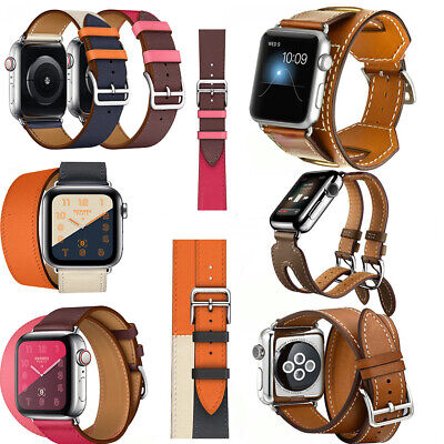 AU18.89 • Buy Genuine Leather Band Double Single Tour Strap For Apple Watch Series6 5 4 40/44