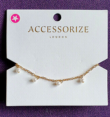 £4.99 • Buy  Accessorize, Gold Tone Bracelet, Dainty Chain With Pearl Bead Drops