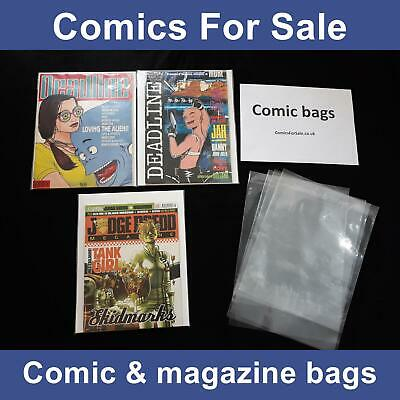 £15.99 • Buy Deadline Magazine Comic Bags X 100 - Also Fits 2000AD And Related Comics