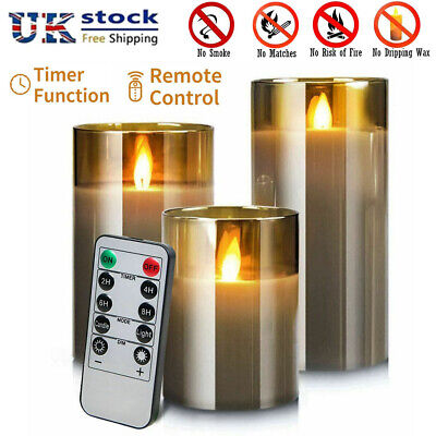 £17.99 • Buy Authentic Flame Flickering LED Pillar Candles Grey Glass Jar Wax Lights Battery