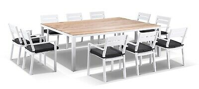 AU3790 • Buy NEW Tuscany 10 Seat Outdoor Teak Top Aluminium Dining Table With Chairs Setting
