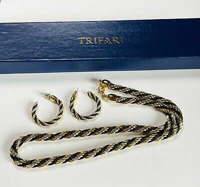 £20 • Buy VINTAGE JEWELLERY SIGNED TRIFARI GOLD PLATED ROPE NECKLACE/EARRINGS SET (boxed)