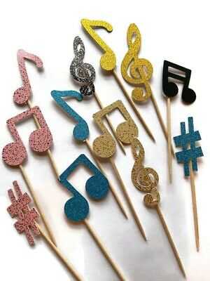 £3.50 • Buy 12 Musical Note Cake Toppers Birthday Decoration Cupcake Tik Tok Notes Music Mix