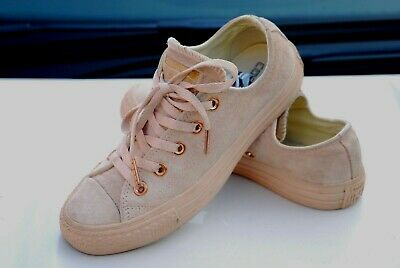 £27.99 • Buy Converse All Star Ox Trainers Blush Gold Pumps Suede Leather Uk 4 Chuck 158411c