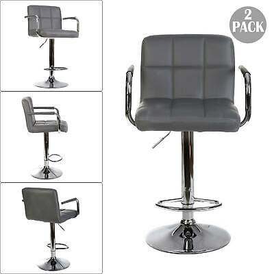 £76.99 • Buy 2PCS Faux Leather Breakfast Bar Stools Kitchen BarStools Chrome Swivel Chair