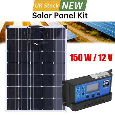£149.99 • Buy 150W Solar Panel Kit Battery Charger 20A LCD With Controller Dual USB RV Boat