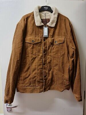 £32 • Buy BNWT M & S XL Tan 100% Cotton Cord With Fur Lining Mens Winter Jacket