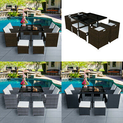 £499.99 • Buy 5/9/11 Pieces Rattan Garden Outdoor Furniture Set Dining Chair & Table Patio