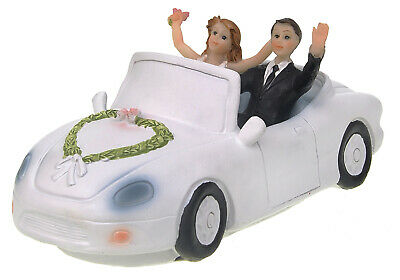 £7.79 • Buy Just Married Car Wedding Cake Topper Bride And Groom Figures Cake Decoration