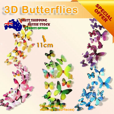 AU3.95 • Buy 12 PCS 3D BUTTERFLY Wall Stickers Removable Decals Kids Nursery Wedding Decor AU
