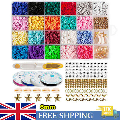 £11.99 • Buy 1 Set DIY Flat Polymer Clay Beads Spacer For Bracelets Jewelry Decor Making UK