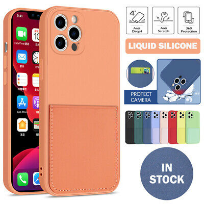 AU11.99 • Buy For IPhone 12 11 Pro Max SE 8 7 Plus XR XS Case Card Slot Liquid Silicone Cover