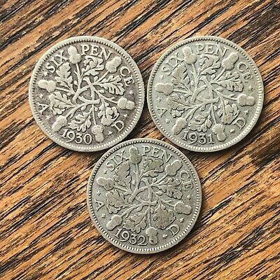 £1.90 • Buy 3 X King George V Silver Sixpence 6d Coins 1930 1931 1932