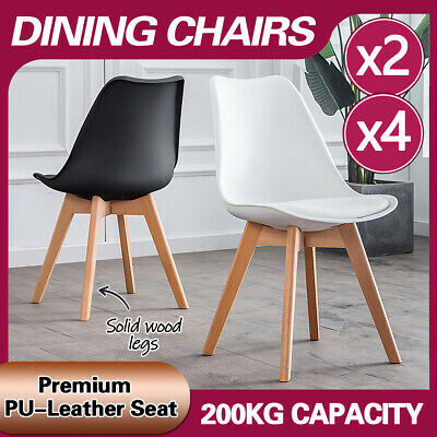 AU92 • Buy 2/4 Dining Chairs Kitchen Cafe Seat Home Office Living Room Wood Leg White/Black
