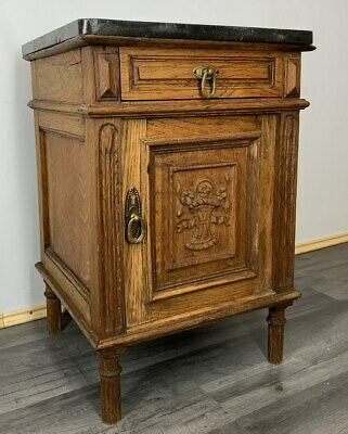 £119 • Buy Rare Carved French Antique Bedside Table Cupboard Cabinet With Marble Top