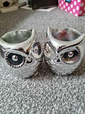£3.20 • Buy Two Yankee Candle Holder - Silver Owls, Very Cute, Autumnal, Votive Holders