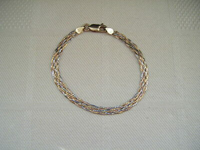 £42.29 • Buy Vintage 9kt Yellow, Rose And White Colour Gold Flat Weave Bracelet Italy 375