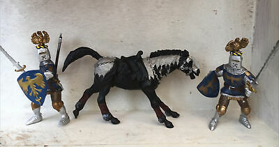 £14 • Buy Papo 2 Blue Knights & 1 Black Warrior Horse Bundle Collectable Play Figures