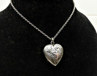 £85 • Buy Antique Victorian Silver Chased Puffy Heart Locket Pendant Necklace Chester Hm