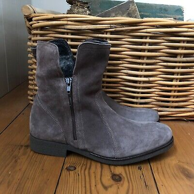 £34.99 • Buy Melograno Ankle Boots Grey Suede Leather UK 6 EU 39 Flat Zip Up Womens Shoes