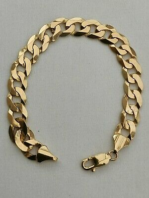 £460 • Buy Vintage Solid 9 Ct Yellow Gold Bracelet- Curb Design 20 Grammes/8.4 Inches