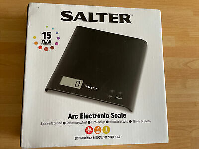 £4 • Buy Salter Arc Electronic Digital Kitchen Scales Black-Weigh Ingredients In Any Bowl