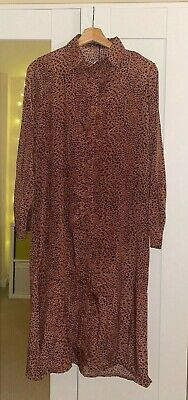 £1.99 • Buy New With Tags- Nasty Gal Dusty Pink Leopard Print Long SleevedMidi Dress- Size 4