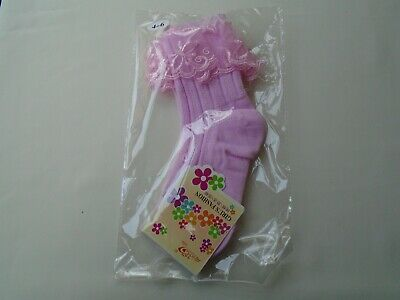 £3.75 • Buy Girls Bridesmaid Holy Communion Organza Frill Pink Ribbed Ankle Socks 4 - 6 New