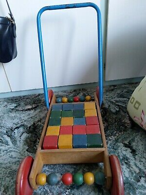 £3.80 • Buy Vintage Toy (1960s) Coloured Wooden Bricks In Push Along Trolley