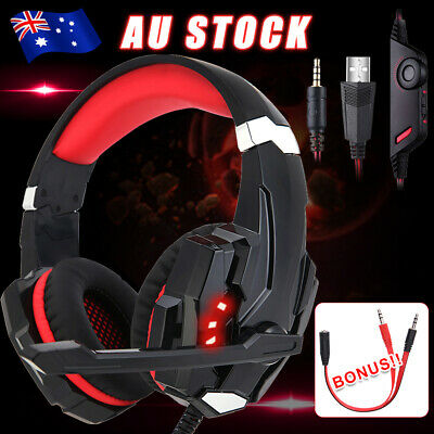 AU29.95 • Buy For PS4 Xbox One Gaming Headset Stereo With Mic PC Laptop Headphones 3.5mm LED