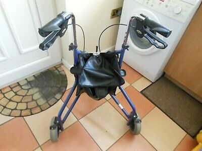 £35 • Buy Days 3 Wheeled Walker With Brakes/bag- Mobility Aid -adjustable Height Inc Post