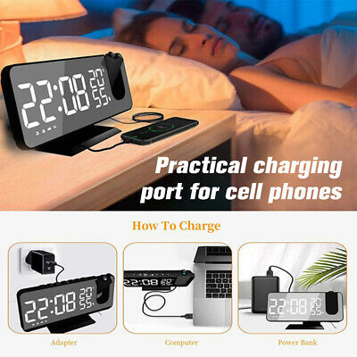 AU38.65 • Buy Alarm Clock Digital Smart LED Projection Temperature Time Projector LCD Display