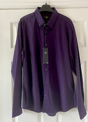 £7.50 • Buy New Mens Next Deep Purple  Tailored  Shirt Size   Large Slim Fit