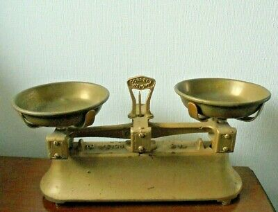£31.66 • Buy Cast Iron Scales Vintage Antique Brass Colour Finish Excellent To Weigh 2LB