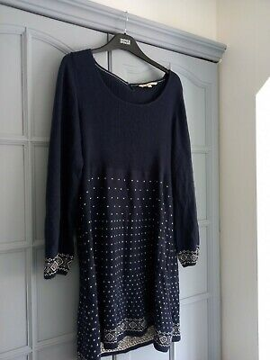 £6 • Buy Fat Face Preloved Size 16 Cotton Tunic Dress Navy Great Condition