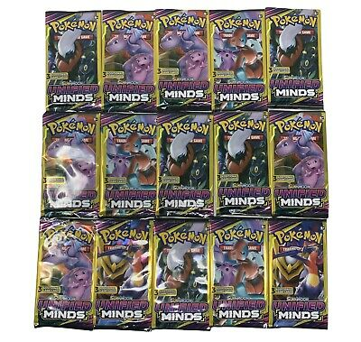 $30 • Buy Pokemon Sun&Moon Unified Minds 3 Card Booster Pack Lot 15 Packs 45 Cards Total