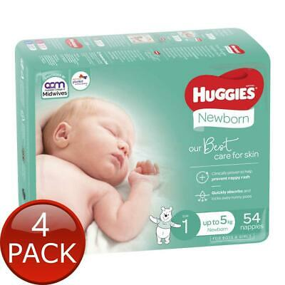AU87 • Buy 4 X HUGGIES NEWBORN ULTIMATE NAPPIES 54 PACK SIZE 1 BABY CARE DISPOSABLE DIAPER