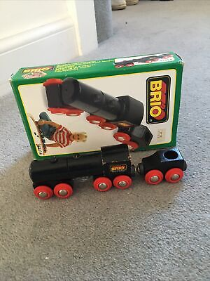 £5 • Buy BRIO Vintage Black Steam Engine With Trailer Push Along ( 33414) Boxed